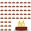 Birthday cakes with number candles — Stock Vector