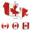 Canada in map and web buttons shapes — Stock Vector #2991600