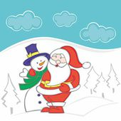 Santa Claus and Snowman — Stock Vector