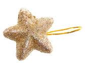 Zlatá hvězda vánoční koule — Stock fotografie