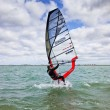 Wind surfing, sports, sail, mast, board, sea, horizont, speed, wind, drive, entertainment, seascape, clouds, clouds, waves — Stock Photo