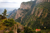 Barcelona, Spain, Monastery of Montserrat, the patriotic symbol and a center of pilgrimage of Catalonia. — Stock Photo