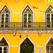 Traditional Lisbon window. Portuguese style of building fasades, decor of balconys fnd design of the window — Stock Photo #40752629