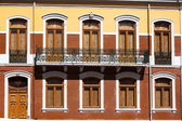 Traditional Lisbon window. Portuguese style of building fasades, decor of balconys fnd design of the window — Zdjęcie stockowe