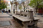 Marble bench in the park, Portugal, garden furniture, Portuguese style — Stock Photo