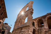 Italy, Verona, ancient amphitheater, rays of sun — Stock Photo
