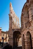Italy, Verona, ancient amphitheater, stone arches, ancient masonry walls — Stock Photo