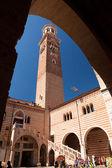 Verona, northern Italy, Ancient Street, Piazza della Signoria in the arch — Stock Photo