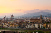 Italy. Landscape evening Florence embankment Brunnaleski dome at sunset. — Stock Photo