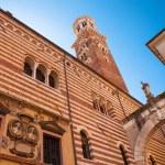 Verona, northern Italy, Ancient Street, the perspective of university walls, arch, Piazza della Signoria, gothic architecture — Stock Photo #46693059