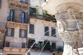 Antique marble fountain in Verona, northern Italy — Stock Photo