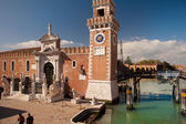 North Italy, Venice, Clock tower of  the Arsenal, sundial — Stock Photo
