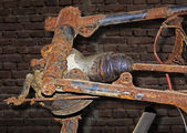 Cardan joint of an old rusty motorbike — Stock fotografie