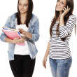 Two students one hanging on the phone — Stock Photo