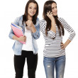 Teenager showing thumb up while her frind is on the phone — Stock Photo