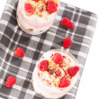 Royalty-Free Stock Photo: Raspberry yoghurt desserts from top