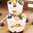 Royalty-Free Stock Photo: Two blueberry yoghurt desserts