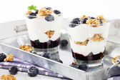 Two blueberry yoghurt desserts — Stock Photo