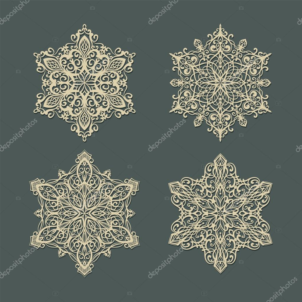 Set of creative snowflakes silhouettes with shadows. — Stock Photo #16277497