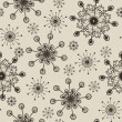 Stock Photo: Hand drawn snowflakes pattern