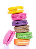 Assorted colorful macaroon isolated on white background — Stock Photo