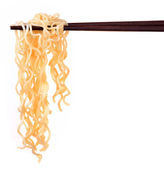 Chinese instant noodle and chopstick — Stock Photo