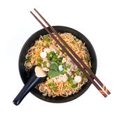 Eating instant noodle with minced pork bowl — Stock Photo