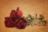 Dry red rose on old brown grunge paper — Stock Photo