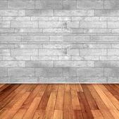 木製の床と白い大理石の壁と空の部屋 — ストック写真