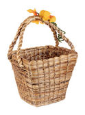 Brown wicker water hyacinth basket isolated on white background — Stock Photo