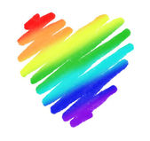Rainbow color drawing stroke heart shape on white background — Stock Photo