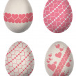 Easter egg paint with pink heart shape pattern isolated on white background  — Stock Photo