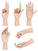 Zbiór manekin drewniany ludzką ręką gest na białym tle — Zdjęcie stockowe