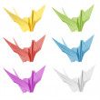 Colorful japan origami crane bird isolated on white background — Stock Photo