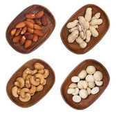 Mixed of macadamia, almond and cashew nuts isolated on white background — Stock Photo
