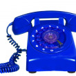 Classic 1970 - 1980 retro dial style blue house telephone — Stock Photo