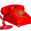 Classic 1970 - 1980 retro dial style red house telephone  — Stock Photo