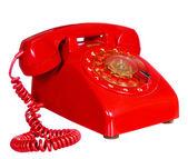 Classic 1970-1980 retro tarzı kırmızı ev telefon — Stok fotoğraf