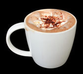 Coffee or hot chocolate on black — Stock Photo
