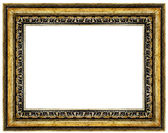 Grunge old golden wooden frame isolated on white background — Stock Photo