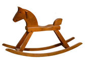 Brown rocking seesaw horse isolated on white background — Stock Photo