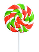 Christmas color red and green lollipop isolated on white background — Stock Photo