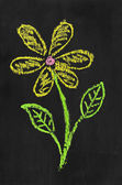 Colorful chalk illustration of flower by kid on blackboard — Stockfoto