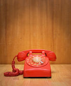 Vintage old red house telephone — Stock Photo