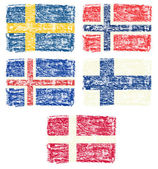 Crayon draw of Scandinavia country flag — Stock Photo