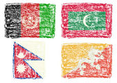 Crayon draw flag of South Asia country — Stock Photo