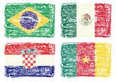 Disegnando disegnare delle bandiere del paese, messico, croazia, brasile, camerun — Foto Stock