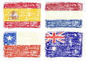 Crayon draw of country flags, Chile, Spain, Australia, Netherlands — Stock Photo