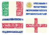 Crayon draw of country flags, England,Italy,Costa Rica,Uruguay — Stock Photo