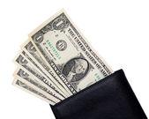 Nota de um dólar na carteira — Fotografia Stock